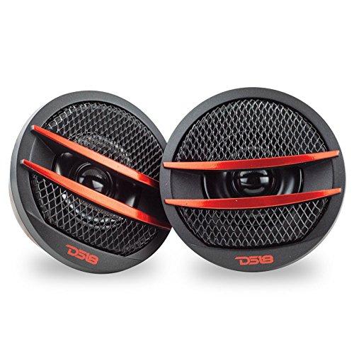 Pei Dome (DS18 TX1R Tweeter X1 200 Watt Max PEI Dome Ferrite Tweeter - Satz von 2 (schwarz /) rot)