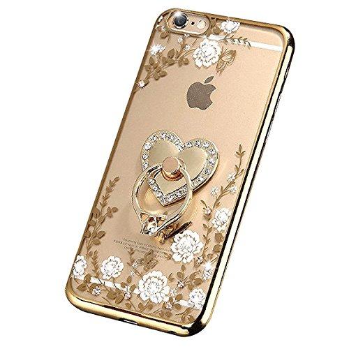 iPhone 7 Hülle,iPhone 7 Silikon Schutz Handy Hülle Kratzfeste Tasche Handyhülle [Mit 1 X Frei Stylus Stift], SainCat iPhone 7 Gel Case Weiche Bling Diamant Schutzhülle Silikon Crystal Clear Case Durch Gold-Weiße Blume