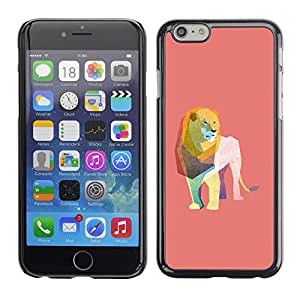 Omega Covers - Snap on Hard Back Case Cover Shell FOR Iphone 6/6S (4.7 INCH) - Lion Watercolor Polygon Art Peach Pink