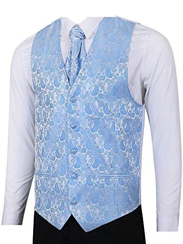 LL L & L Herren Weste mit Paisley-Muster Weste und Krawatte Einstecktuch Set für Anzug - UK Weihnachten - Himmelblau, Chest 36'' M