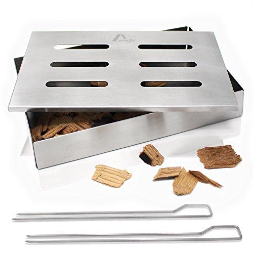 Amazy Edelstahl Räucherbox inkl. 2 Grillspieße – Die spülmaschinenfeste Smokerbox verleiht Ihrem Fisch oder Steak Das traditionelle American BBQ Raucharoma
