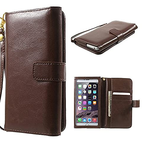 DFV mobile - Crazy Horse PU Leather Wallet Case with Frame Touchable Screen and Card Slots for => PRESTIGIO MULTIPHONE 5300 DUO > Brown