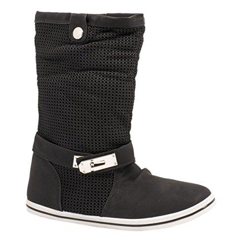 Elara Flache Damen Schlupfstiefel bequeme Stiefel Boots Schwarz Frühling