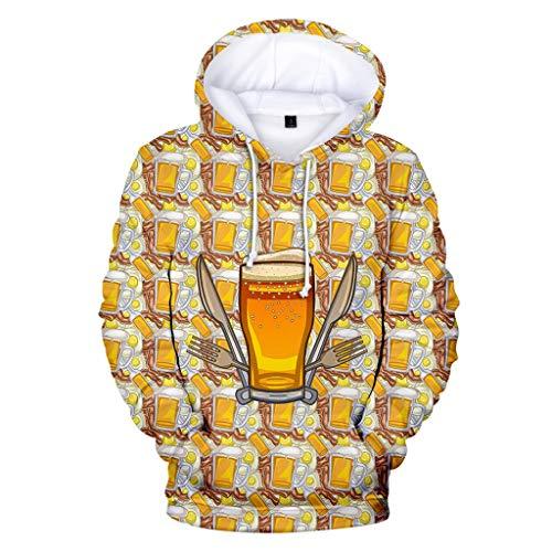 ZHANSANFM Herren Hoodie mit Kapuze 3D Bier Drucken Männer Wiesn Shirt Langarm Sweatshirt Oktoberfest Vintage Elegant Freizeit Kapuzenpullover Bierfest Halloween-Xmas Weihnachten (L, Gold) -