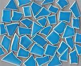 40-50 St. handbemalte Bruchmosaik Fliesen glänzend 400g Farbauswahl (lichblau)