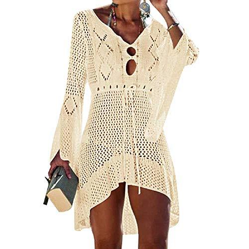 UMIPUBO Vestido de Playa Mujer Suelto Pareos Playa V-Cuello Camisolas y Pareos Ganchillo Vendaje Bikini...