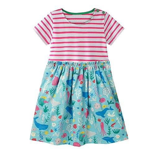 VIKITA Mädchen Streifen Drucken Baumwolle Freizeit Herbst Kleid JM6184 ()