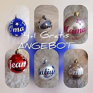 *ANGEBOT* 4+1 glänzende Weihnachtskugeln personalisiert mit Namen