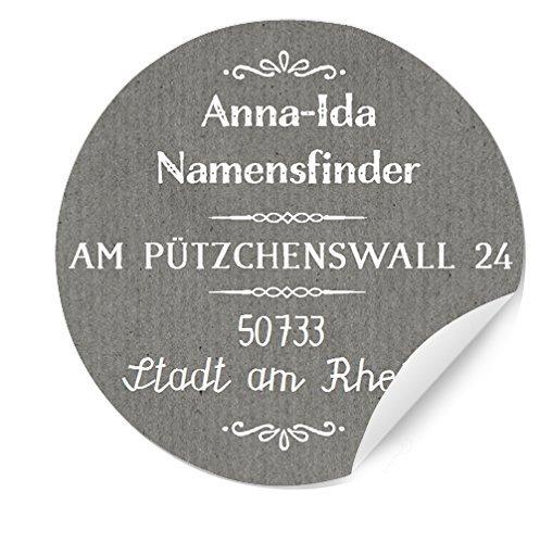 3x24 Bedruckte, runde Adressaufkleber, Hochzeitsaufkleber selbstklebend, Chic Grau, Namenssticker, Etiketten mit Namen und Adresse personalisiert, MATTE Papieraufkleber rund, 4cm Durchmesser,