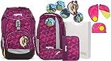 Ergobag Pack NachtschwärmBär Schulrucksack-Set 6tlg + Sicherheitsset Pink