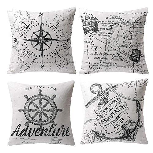 Gspirit 4 Stück Kissenbezug Schwarz und weiß Segeln Navigation Kompass Dekorative Kissenhülle Baumwolle Leinen Werfen Sie Kissenbezüge 45x45 cm