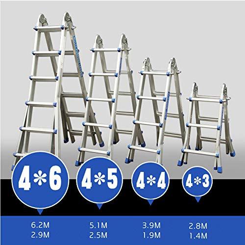 Hehilark 4 x 5 Teleskopleiter Teleskopleitern Mehrzweckleitern Klappleiter Treppenleiter Multifunktionsleiter Aluleiter Ladder Klappleiter Anlegeleiter 5.1 m aus Aluminum
