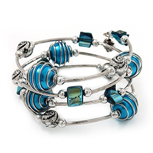 Silver-Tone Beaded Multistrand Flex Bracelet (Dark Teal Blue)