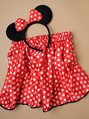 Girls Child Mini Mouse Set Red Polka Dot Satin Tutu Black Sparkle Mouse Ears Fancy Dress by Allaccessories