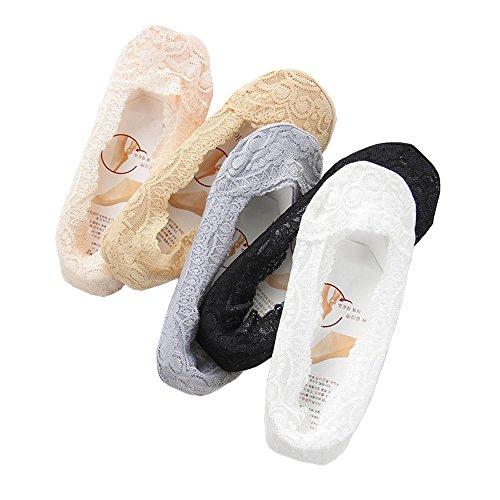 Spitze Socke - Youson Girl Damen Rose Blume Spitzen-Füßlinge Sommer Socken Unsichtbare socke Einheitsgröße 5er Set (Ballerina Sock Set)