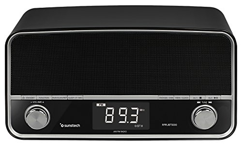 Sunstech rprubt5000bk – Retro Radio Bluetooth Multifunktions-(6 W, Alarm, USB, AUX) schwarz