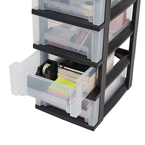 Iris Ohyama, Storage Chest on Wheels – Smart Drawer Chest SDC-305 – Plastic, Black, 5 x 16 L, L39 x W29 x H102 cm