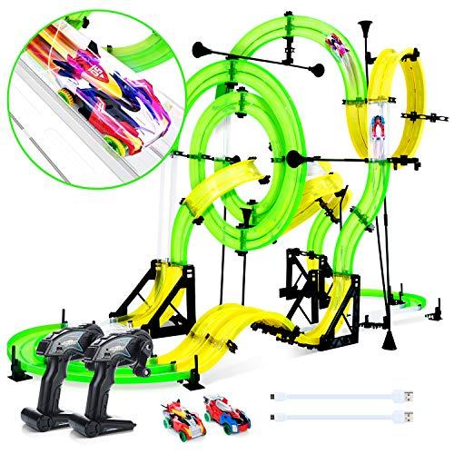 Peradix Autorennbahn Und Rennstrecke mit 2xFahrzeugen -DIY Auto Rennbahn mit 2 Loopings -Spielzeugauto für Kinder ab 6 Jahren,Mehrweg (Rennbahn)