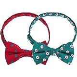 2 Pezzi Cravatte Natalizie da Uomo per Cravatte Costume di Natale, Perimetro 24-48 cm (Rosso e Verde)