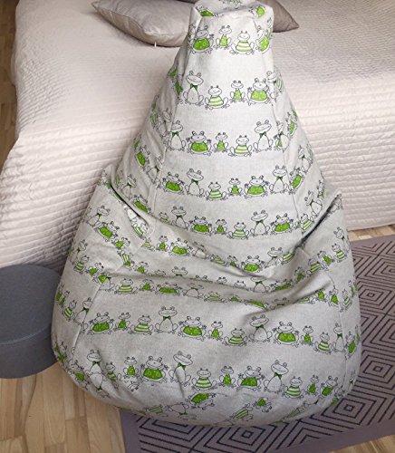 Frosch Bodenkissen (Sitzsack Froschkönig Leinen Bezug Kinderzimmer Möbel Natürliche Stoffe Frosch Muster Sitzkissen Sessel für Prinzessin Mit Innenbezug OHNE FÜLLUNG)