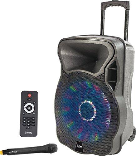 Party Light & Sound Party-12LED Enceinte portable sur batterie, Bluetooth, USB, MP3, Radio, SD, micro sans fil