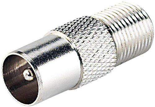 esoSAT Antennenkabel Adapter: F-Adapter für Sat-Receiver, F-Buchse auf Koaxial-Stecker (Antennenkabelstecker)