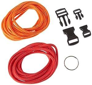 Paracord starter set kit de tressage bracelets de survie réfléchissants orange/rouge
