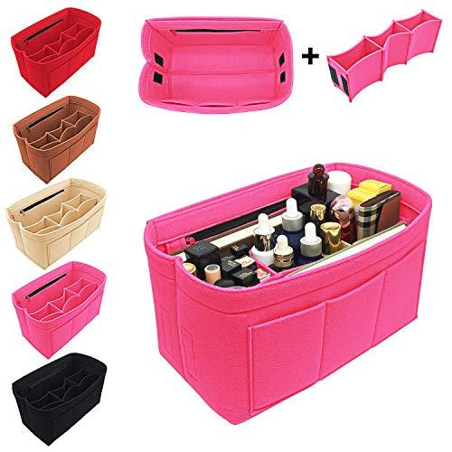 Reliancer Geldbörse Organizer Filztasche Organizer Handtasche Tragetasche in Tasche für LV Speedy Neverfull Longchamp, Pink (rosarot), X-Large