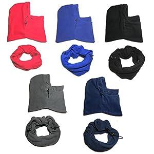 PRESKIN – MultiFleece Skimaske (One size) in verschiedenen Farben, wärmende Sturmhaube und Schlauchschal mit verstellbarem Zugband, für Damen, Kids, Jungen und Mädchen