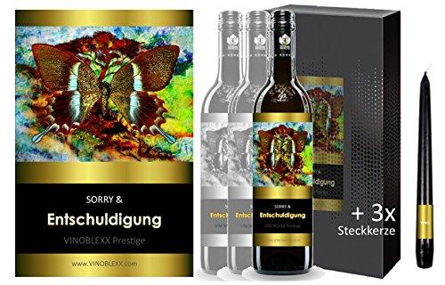 ENTSCHULDIGUNG. 3er Geschenkset KLASSIK Rotwein. Ein Geschenk mit Stil & Prestige in Golddruck das jeden begeistert. Hochwertiger Qualitätswein. Verschiedene Etiketten-Designs, aktuell: Schmetterling