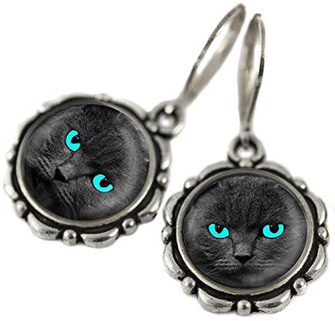 Tizi Jewellery, Schwarze Katze mit Blauen Augen Handgefertigte Silber Ohrringe mit Sterling Silber 925 Haken und versilbert Anhänger