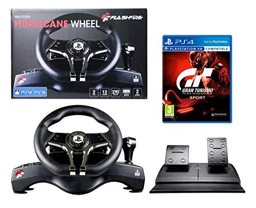 PS4 Lenkrad und Pedale + GT Sport [Gran Turismo Sport] Orig. Licensed PlayStation 4 - FlashFire - 2 Achsen, 12 Buttons, Vibrationsfunktion, Manuelle Schaltung