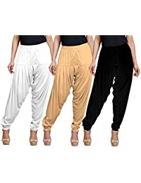 Eazy Trendz Women's Viscose Lycra Solid Patiala Pack Of 3-SKIN_BLACK_WHITE