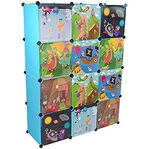 KEKSKRONE Sehr Großer Kinderschrank Bunte Motiv-Türen – DIY Stecksystem – 12 Module je 37 x 37 x 37 cm, Blau | Kinderzimmer-Schrank | Kinderkleiderschrank | Baby-Regal | Spielzeugkommode