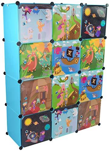 KEKSKRONE Sehr Großer Kinderschrank Bunte Motiv-Türen - DIY Stecksystem - 12 Module je 37 x 37 x 37 cm, Blau | Kinderzimmer-Schrank | Kinderkleiderschrank | Baby-Regal | Spielzeugkommode -