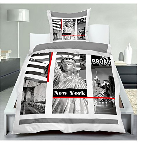 JEMIDI Bettwäsche 2 teilg 135cm x 200cm Bett Garnitur Set Bettdecke Kopfkissen - Wintertiere - New York London - USA England (New York 2) (Bettwäsche New York)