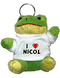 Rana de peluche (llavero) con Amo Nicol en la camiseta (nombre de pila/apellido/apodo)