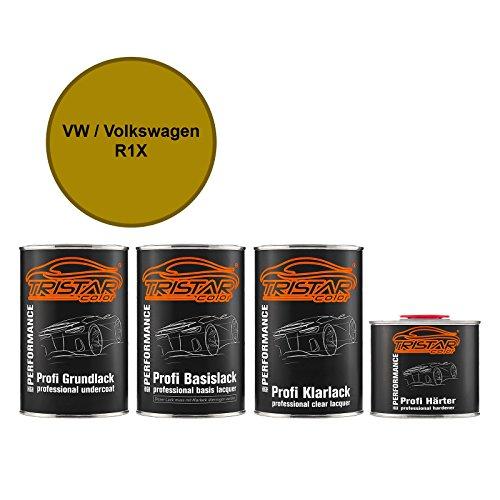 Preisvergleich Produktbild Autolack Set Dose spritzfertig VW / Volkswagen R1X / LR1X Kurkumagelb Metallic Grundlack + Basislack + 2K Klarlack 3, 5L