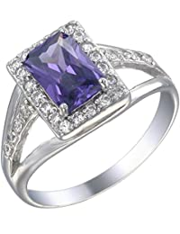 Sterling Silver Purple CZ Ring (9x6 MM ; Emerald Cut)