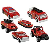DealBindaas Fire Rescue Service Set Of 6 Pcs | Ship | Car | Fire Brigde | Jeep | Tank | Transportation Vehicle | Free Wheel | Scale 1:64 | Kids Gift Toy | Dinky Model | Metal And Plastic Body