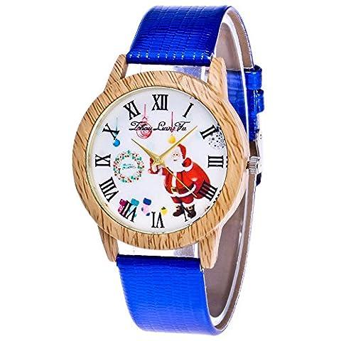 Souarts Damen Retro Armbanduhr Weihnachtsbaum Muster Holz Maser Damenuhren Casual Quarz Uhren mit Batterie Blau