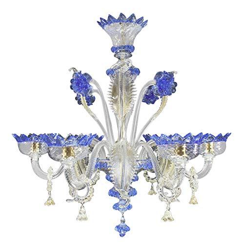 Lampadario classico vetro di murano, 6 luci, cristallo oro e blu/classic murano chandelier, 6 lights, transparent gold and blue