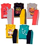 #7: 1lycargos Boys T-Shirts & 3/4 Shorts set 5pcs pack with Five different colors in Attractive print design