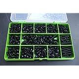 320surtidos negro brida Posi/Trim autorroscante tornillos. Nº 6, nº 8y Nº 10. Negro óxido de placa