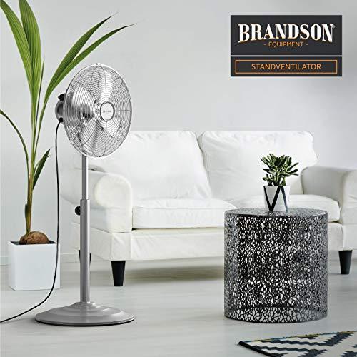 Brandson – Standventilator mit Oszillation 80° im Chrom-Design | 30 cm Rotor | hhenverstellbarer Standfuß | 3 Geschwindigkeiten | 30° neigbar | Ventilator Standlfter | GS-Zertifiziert Bild 4*