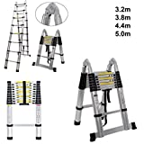 Escalera telescópica extensible y plegable, doble, versátil, portátil, multifunción, ideal para todas tus necesidades, 5.0m