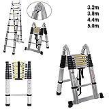 Escalera doble telescópica de 3,2 m, versátil, plegable, portátil, multifuncional, perfecta para todas tus necesidades