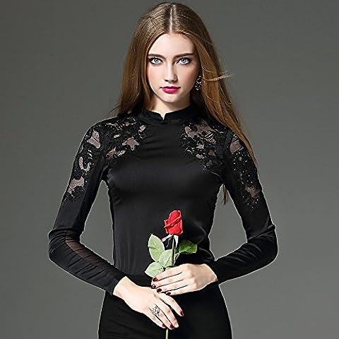MYM Pesada otoño y camisa de cuello de encaje hembra de la camisa bordada invierno de manga larga era delgada gasa costuras camiseta de la camisa femenina , black ,