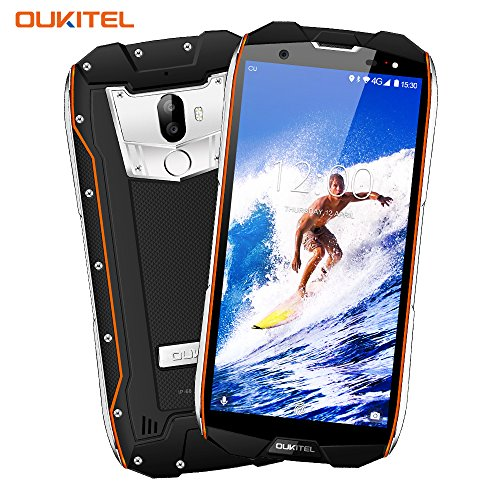 Outdoor Smartphone, OUKITEL WP5000 5,7 Zoll Display, Android 7.1 Handy ohne Vertrag, Dual Sim Handy, IP68 Wasserdicht Stoßfest Staubdicht, 6GB+64GB, Helio P25 Octa Core, Mobiltelefon 4G,5200mAh-Orange