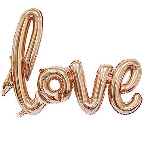 LAAT Love Ballon Banner Feier Ballon Hochzeit Dekoration Bälle Romantische Dekorationen Ballons LOVE Form Jahrestag Valentinstag 108 * 64CM Champagne Gold (Dekoration Ball)